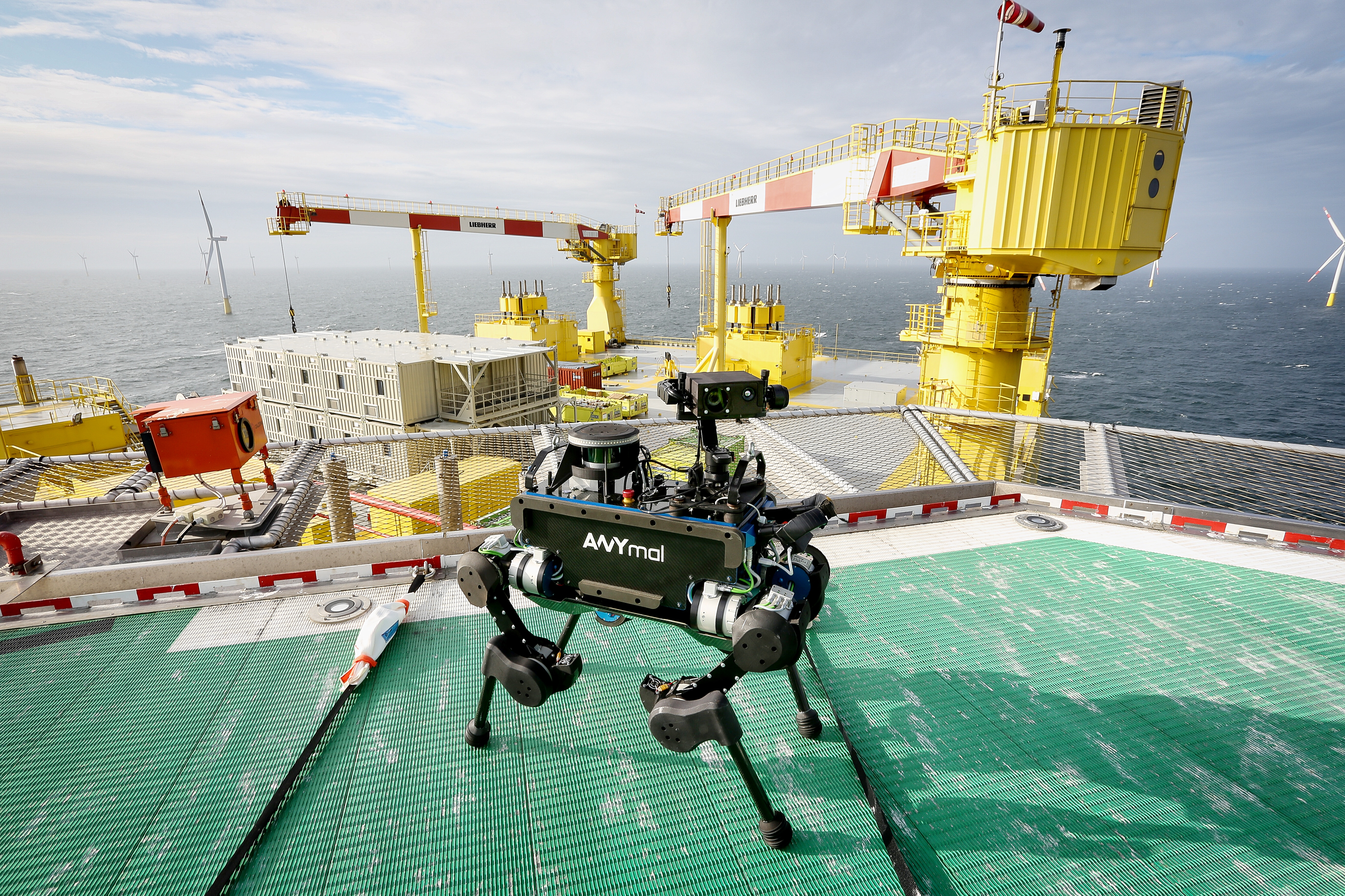 The robot, called ANYmal, performed various inspection tasks on the platform as part of a week-long pilot guided by Dutch-German transmission system operator TenneT.