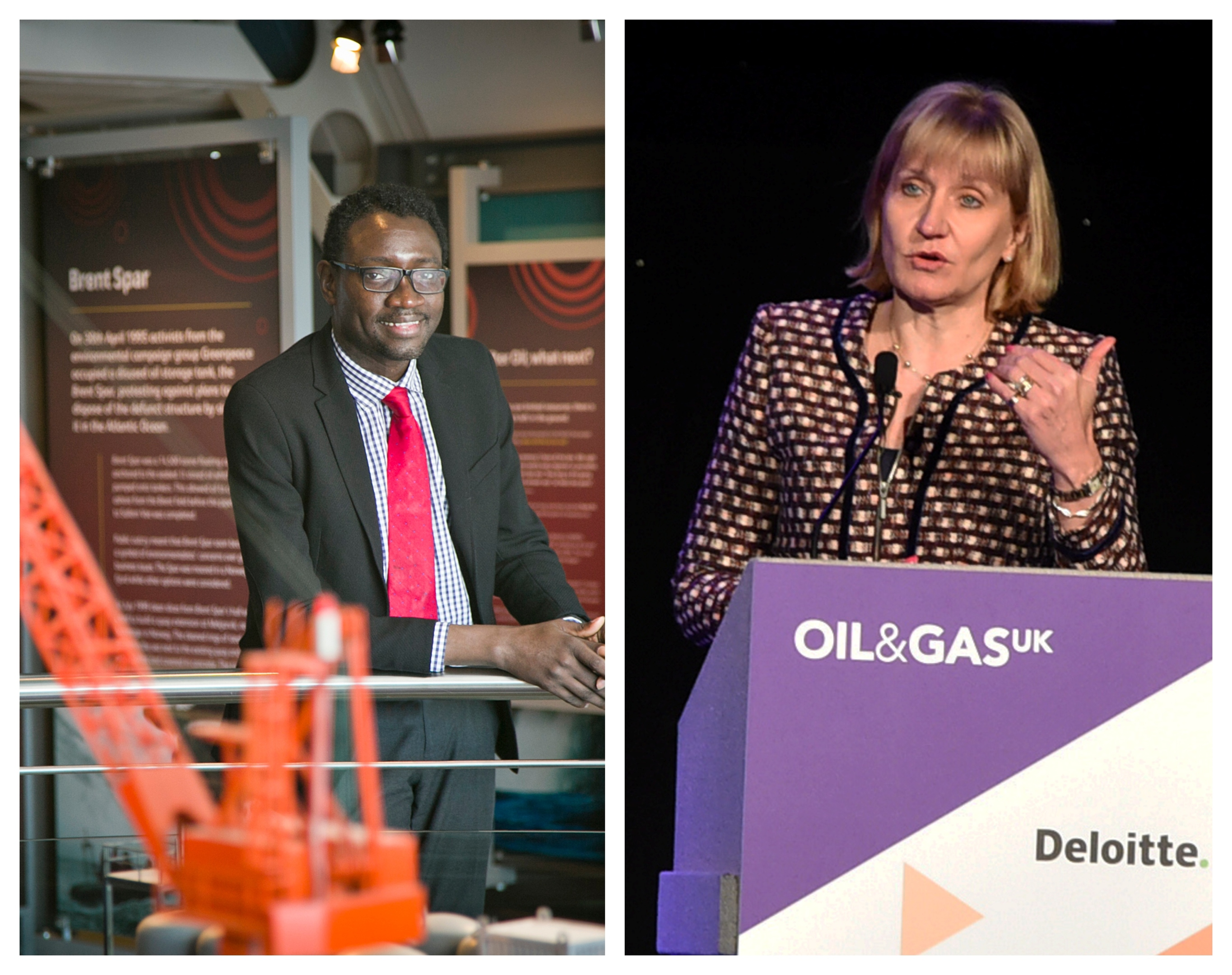 Ollie Folayan, chairman of AFBE-UK Scotland and Deidre Michie, CEO of Oil and Gas UK