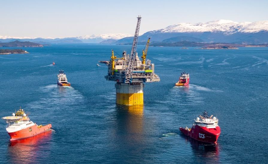 The tow-out of the Aasta Hansteen platform to the Norwegian Sea took place earlier this year. Pic: Equinor