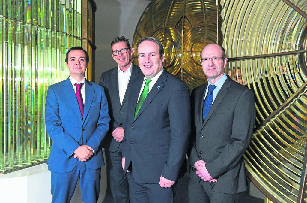 BIG news: Oscar Diaz, Julian Brown (MHI Vestas UK Country Manager), Paul Wheelhouse and Michael Murray at the announcement