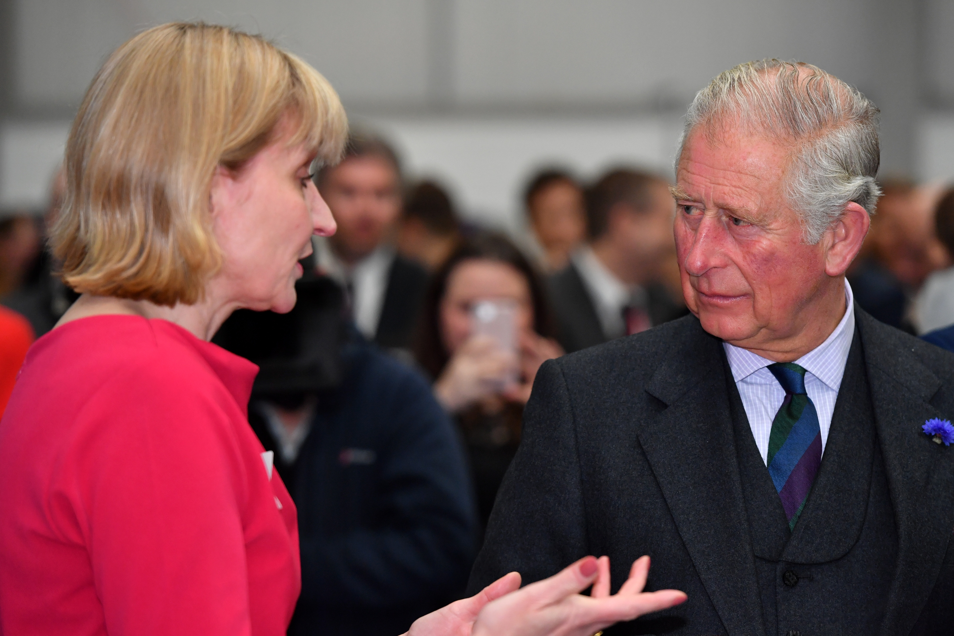 HRH Prince Charles, The Duke of Rothesay, visited Balmoral Offshore Engineering, Aberdeen to officially open the new Balmoral Subsea Test Centre.  Pictured - Prince Charles, speaking with Deirdre Michie of Oil & Gas UK.  Picture by Kami Thomson