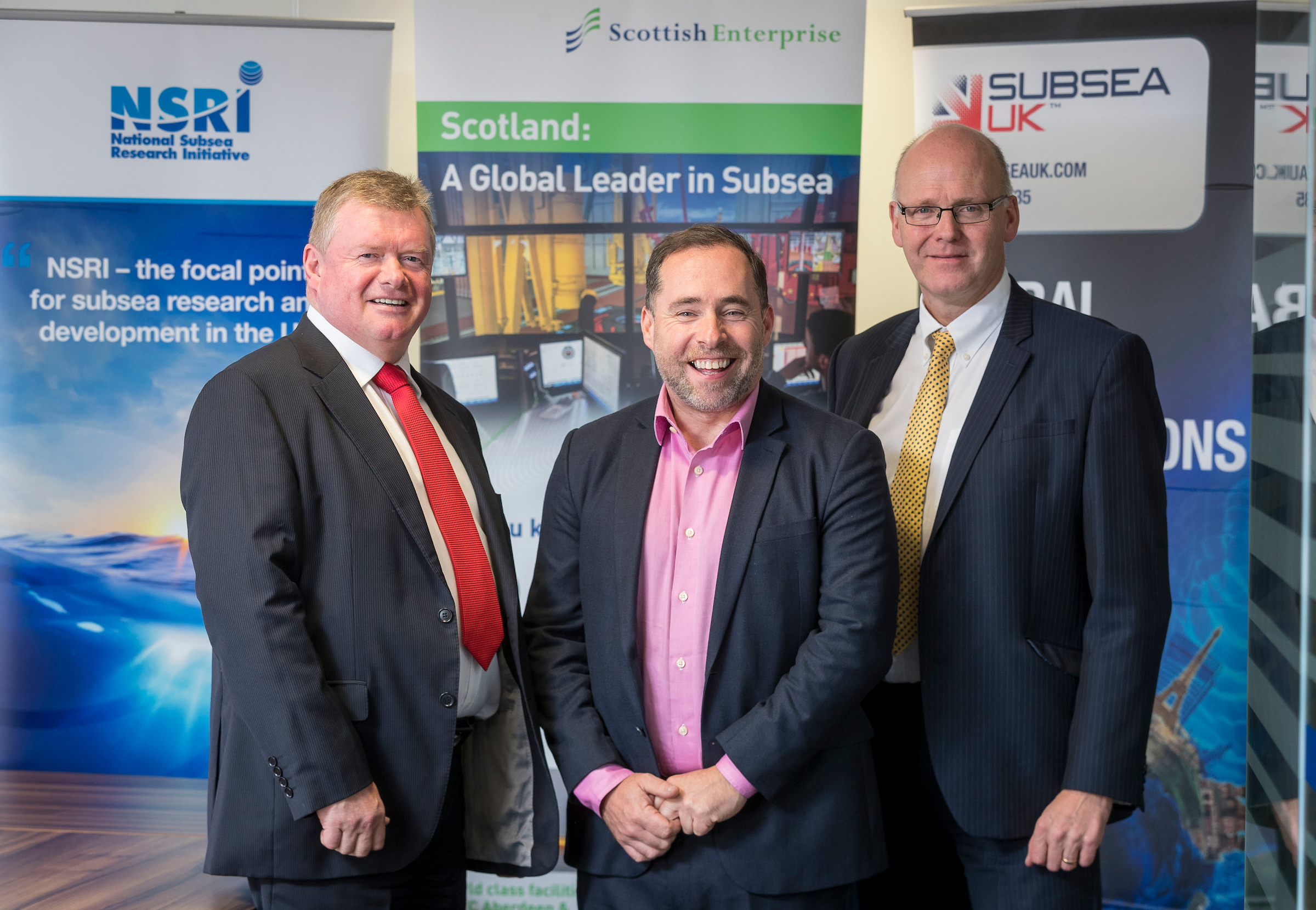 Tony J.A Laing, Director, National Subsea Research Initiative, David Rennie, Head of Energy, Oil and Gas, Scottish Enterprise and Neil Gordon, Chief Executive, Subsea UK.