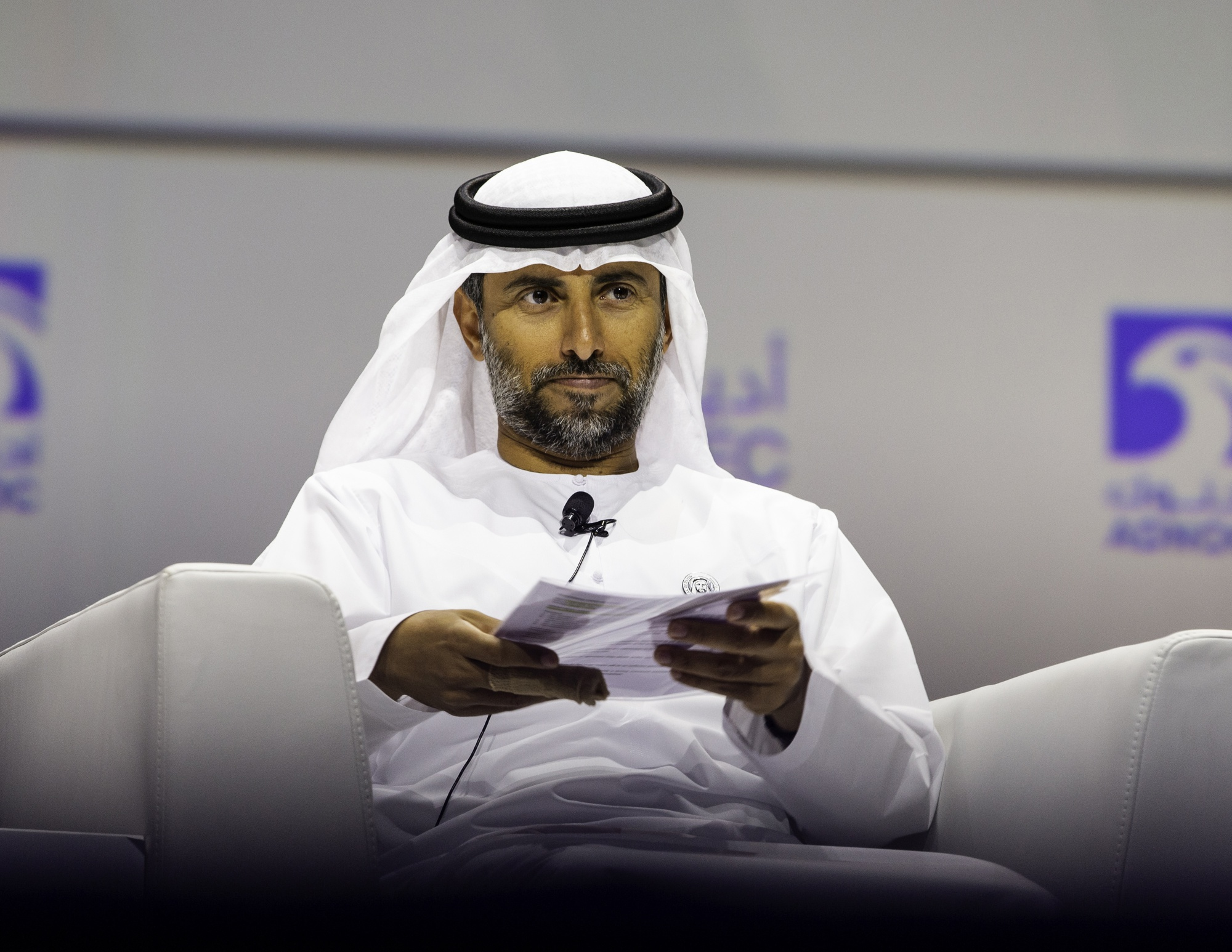 Suhail Al Mazrouei, United Arab Emirates' energy minister, pauses at the Abu Dhabi International Petroleum Exhibition & Conference (ADIPEC) in Abu Dhabi, United Arab Emirates, on Tuesday, Nov. 13, 2018. OPEC's secretary-general, energy ministers from Saudi Arabia to Russia, CEOs at oil majors from Total SA, BP Plc and Eni SpA, and officials from Middle Eastern energy giants such as Abu Dhabi's Adnoc have gathered to sign deals and discuss oil, gas, refining and petrochemical issues. Photographer: Christopher Pike/Bloomberg