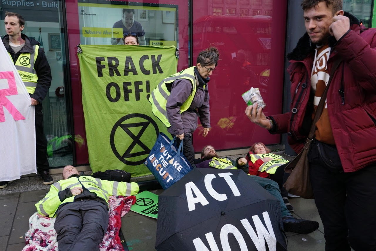 Fracking protestors outside the UK Department for Business, Energy and Industrial Strategy.