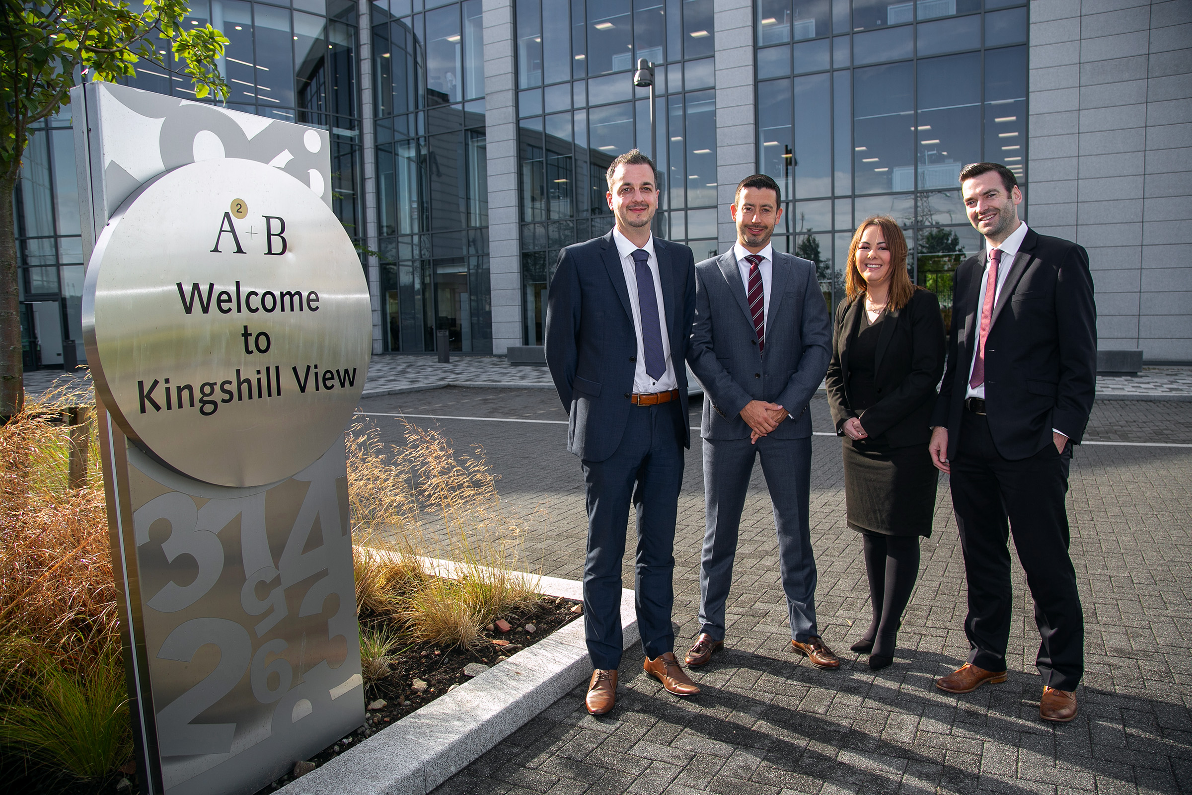 AAB's new Global Payroll team members from left to right; Simon Porter, David Purse and Katie Lange with Partner Steven Fraser.