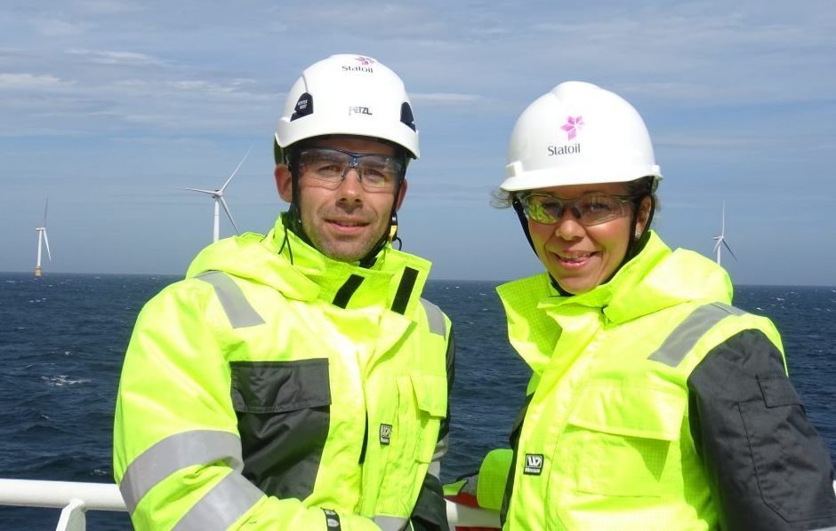 Halvor Hoen Hersleth, Hywind operations manager and Hedda Felin, managing director, Equinor UK.