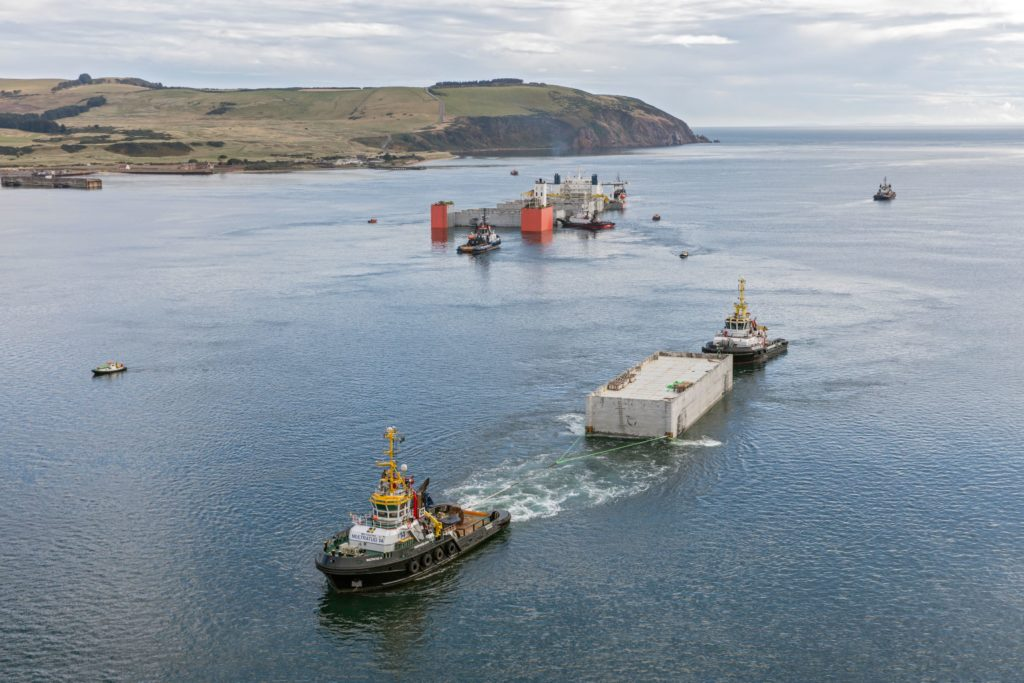 Giant caissons to construct the new South Harbour arrived recently