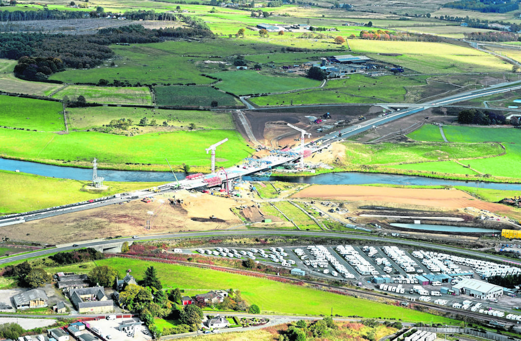 Aerial Photographs  Aberdeen Western Peripheral Route / AWPR Pictured is the Northern Route between Dyce / Aberdeen Airport and Blackdog. Pictured is the new bridge at Dyce over the River Don which is still under construction. Picture by DARRELL BENNS    Pictured on 06/10/2018  MUST CREDIT - CABRO AVIATION and HJS HELICOPTERS