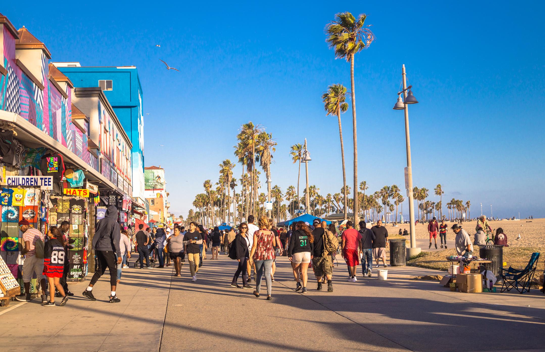 Los Angeles, California, USA - June 21, 2017: Road and shops at Venice Beach, Los Angeles, California.