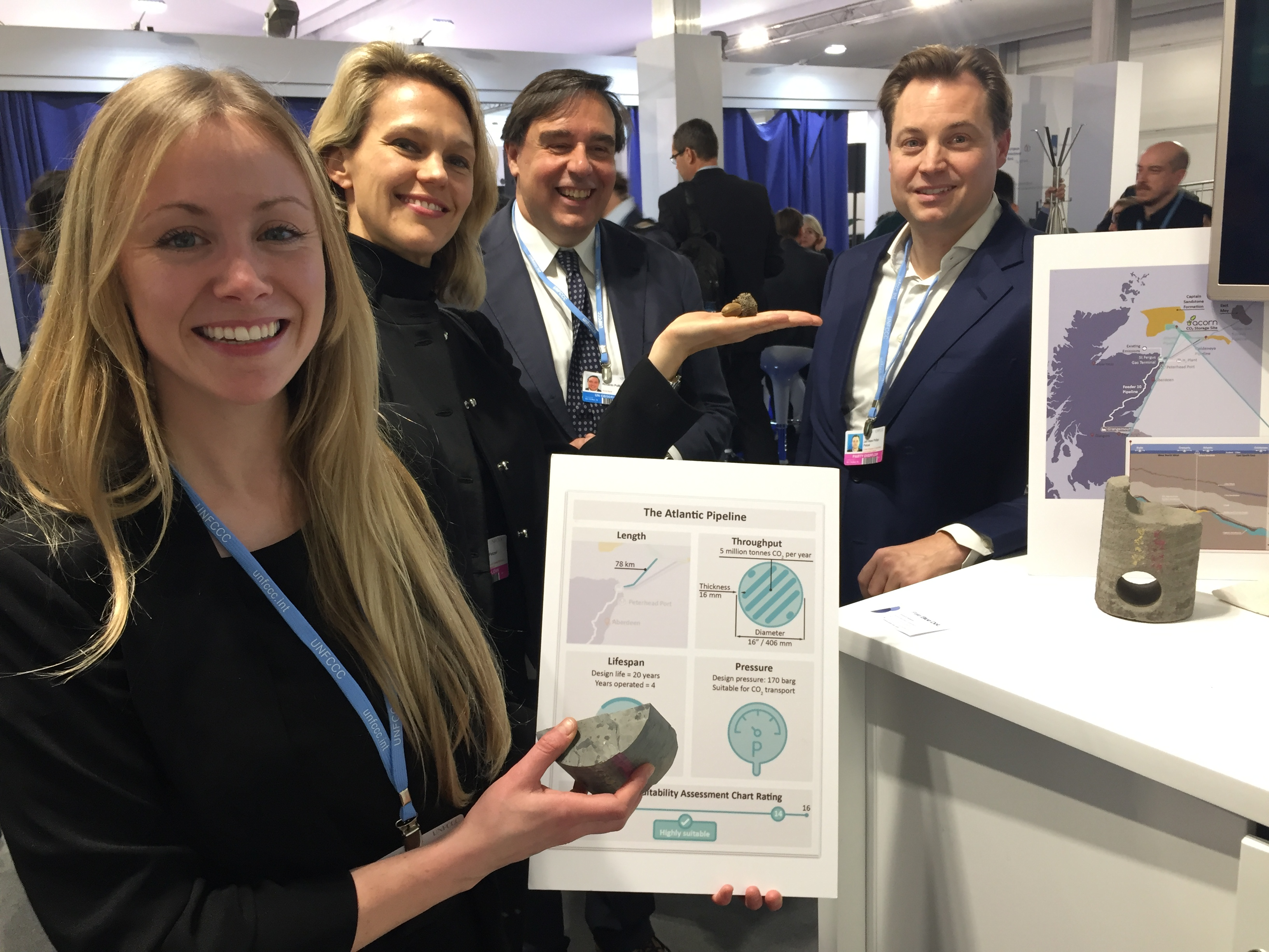 Hazel Robertson (left) of Pale Blue Dot discussing the Acorn CCS project with Kim Petzel of Carbon Clean Solutions (CCS) Riccardo Puliti from World Bank and Jan Petzel, CCS at COP24