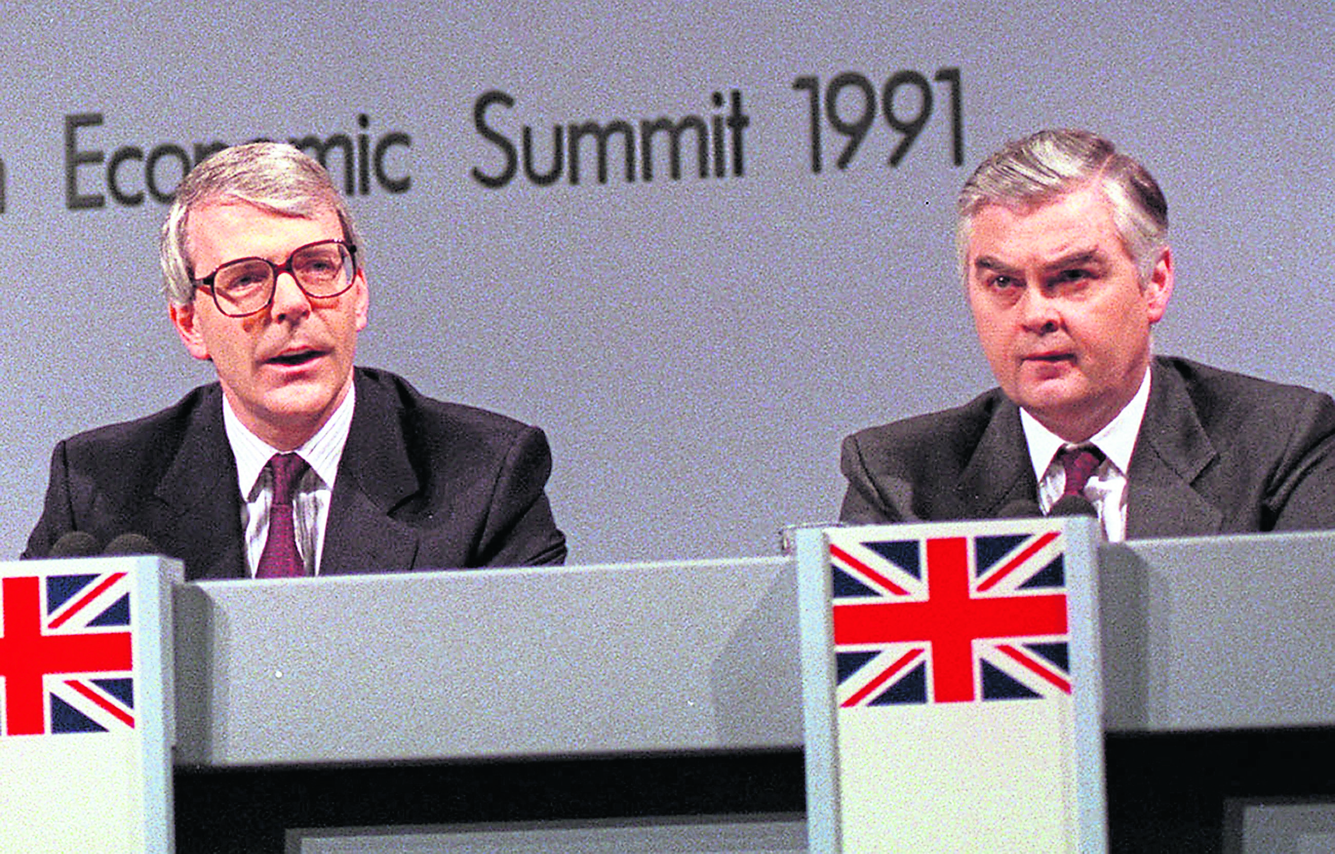 The proposal to abolish the Petroleum Revenue Tax was discussed by Prime  Minister John Major, left, and Chancellor Norman Lamont, right