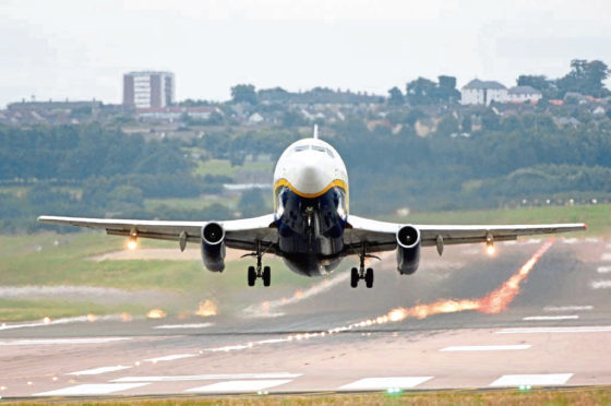 Aberdeen Airport, aircraft taking off.