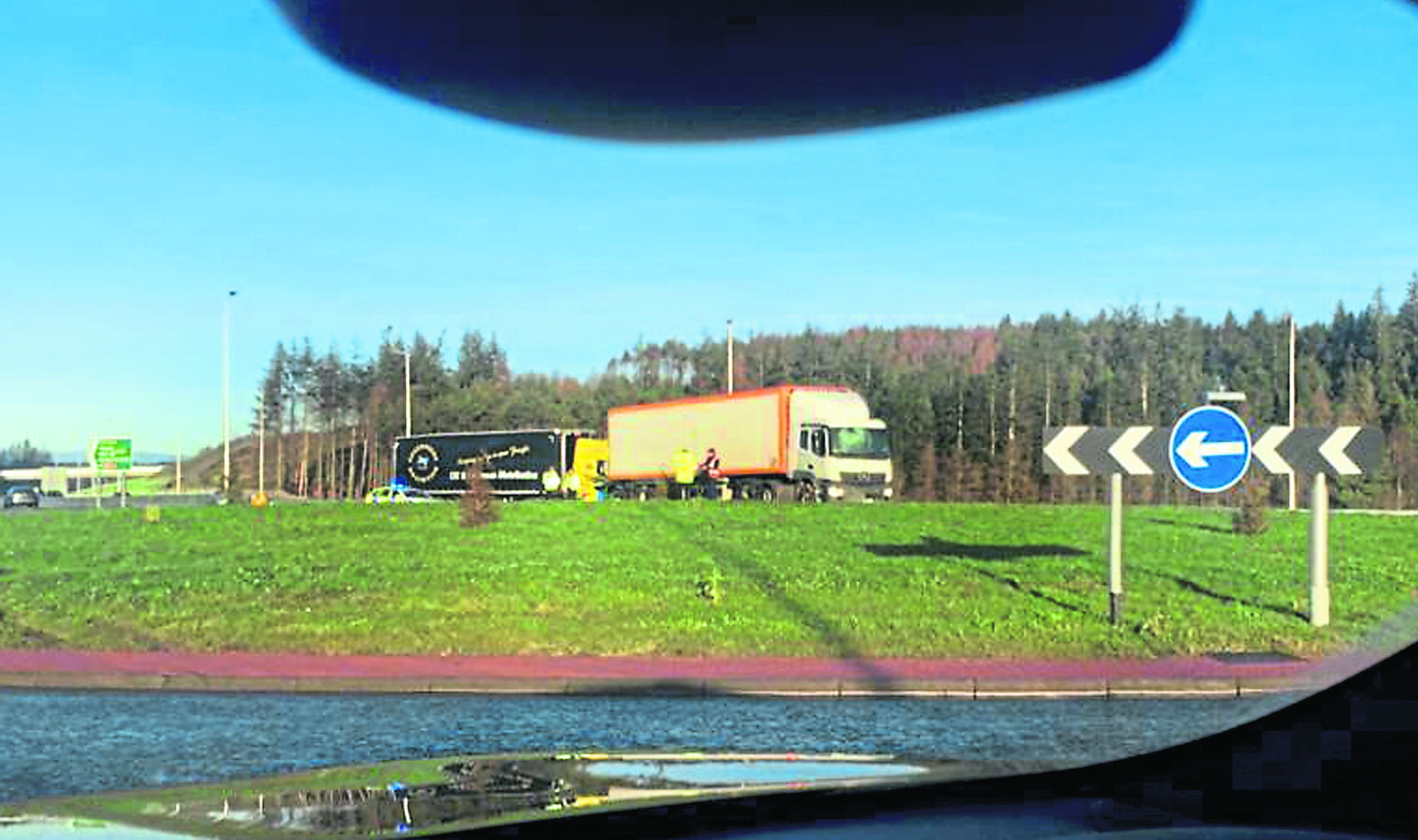 A lorry overshoots the road and ends up on the AWPR roundabout Pic by Joe Churcher