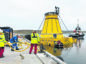 Hurricane Energy's turret loading buoy at Lerwick for final preparations before installation on the Lancaster Field, west of Shetland. Credit: John Coutts