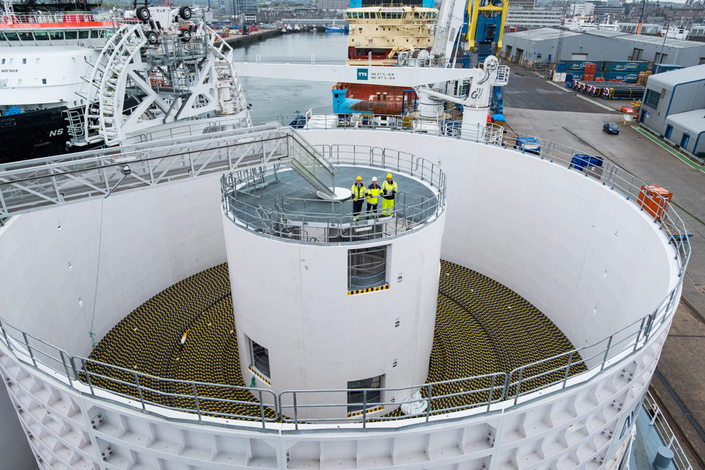 SSEN - NKT Victoria - Cable Laying Vessel - Aberdeen. The newly launched NKT purpose-built vessel has docked in Aberdeen Harbour in preparation for its maiden project to install two subsea power cables connecting Caithness to Moray. Picture Shows; The Cable Carousel on NKT Victoria, Aberdeen, Friday 19, May 2017.  ©Stuart Nicol Photography, 2017