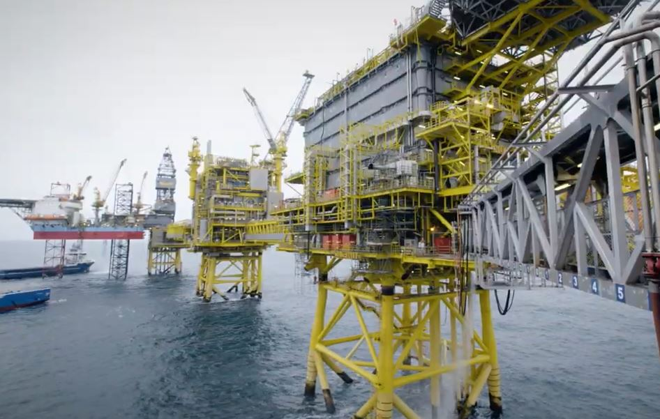 Total's Culzean platform with the attached Maersk Highlander rig pictured left.