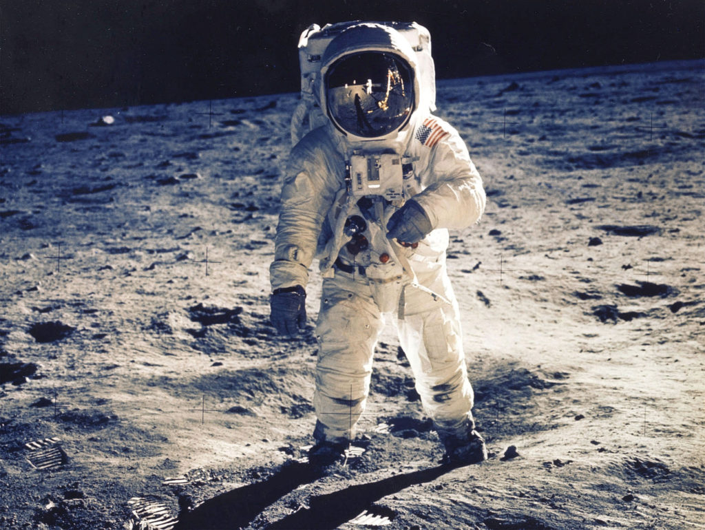 """30Th Anniversary Of Apollo 11 Landing On The Moon (9 Of 20): Astronaut Edwin E. Aldrin Jr., Lunar Module Pilot, Is Photographed Walking Near The Lunar Module During The Apollo 11 Extravehicular Activity. Man's First Landing On The Moon Occurred Today At 4:17 P.M. July 20, 1969 As Lunar Module """"Eagle"""" Touched Down Gently On The Sea Of Tranquility On The East Side Of The Moon. The Lm (Lunar Module) Landed On The Moon On July 20, 1969 And Returned To The Command Module On July 21. The Command Module Left Lunar Orbit On July 22 And Returned To Earth On July 24, 1969. Apollo 11 Splashed Down In The Pacific Ocean On 24 July 1969 At 12:50:35 P.M. Edt After A Mission Elapsed Time Of 195 Hrs, 18 Mins, 35 Secs. (Photo By Nasa/Getty Images)"""