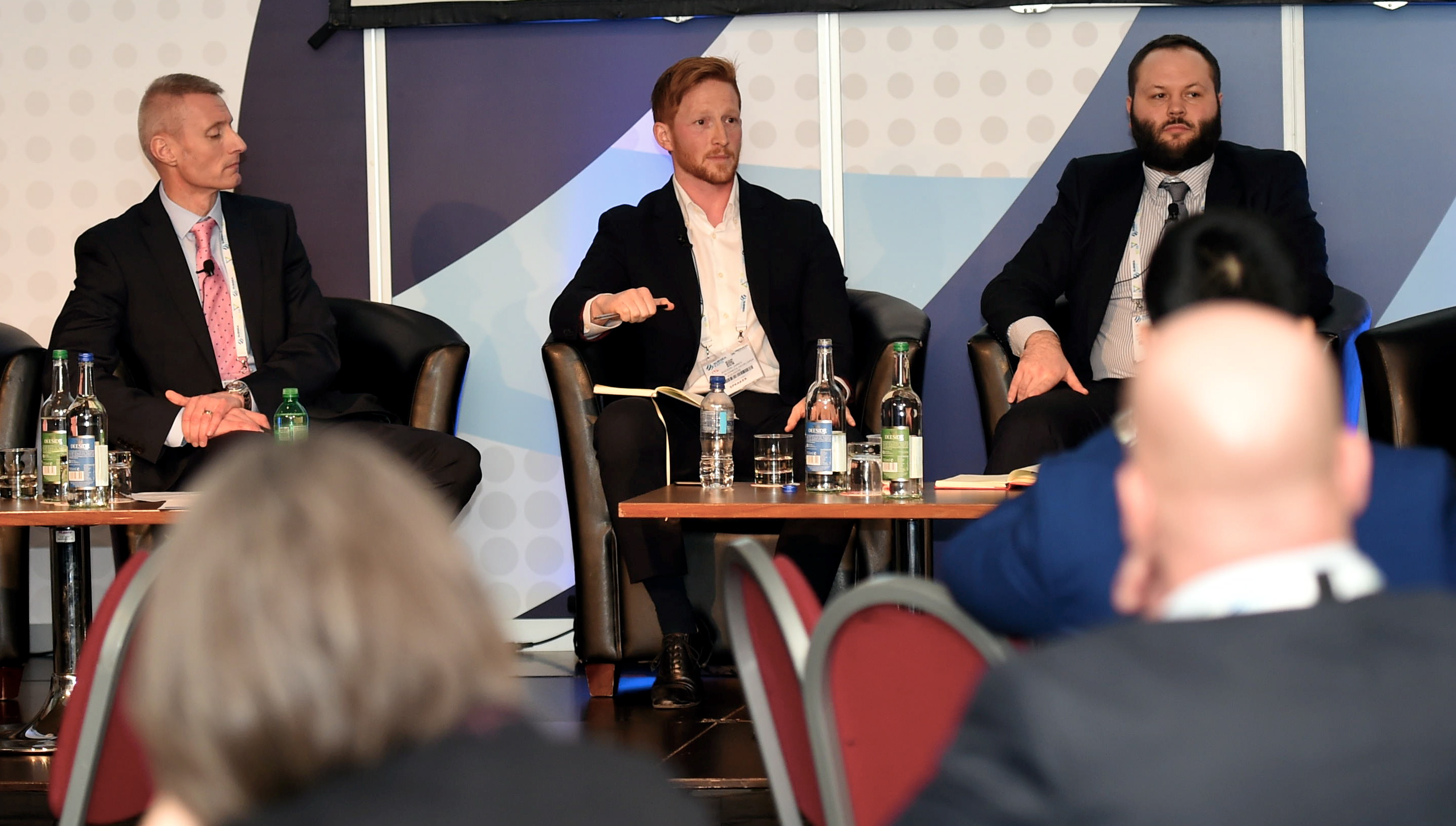 PJ; Renewable UK panel session at Subsea Expo 2019 at the AECC. Pictured from left, David Hinshelwood, SSE,  Rhodri James, Equinor and Richard Copeland. 05/02/19 Picture by HEATHER FOWLIE