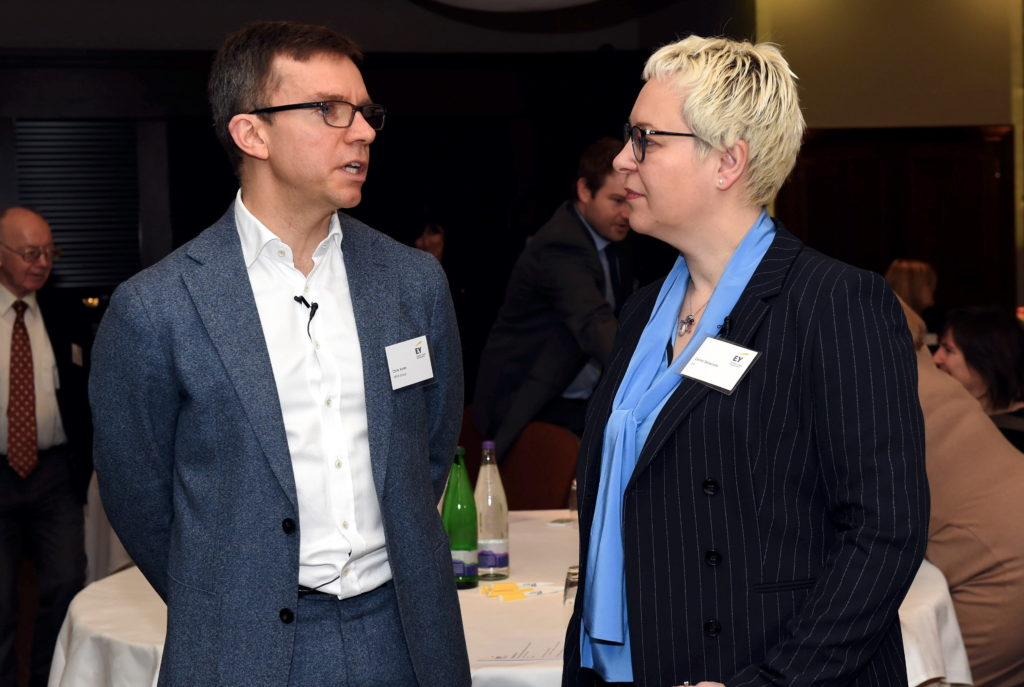 EY launching annual UK oilfield services report. Pictured are Chris Ayres, OPEX Group and  Celine Delacroix, EY. 06/02/19 Picture by HEATHER FOWLIE
