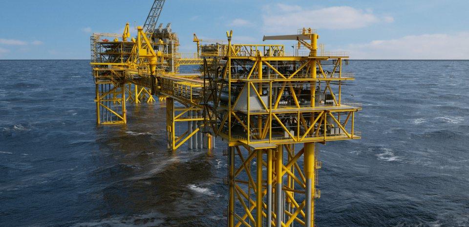 Yellow platform in sea