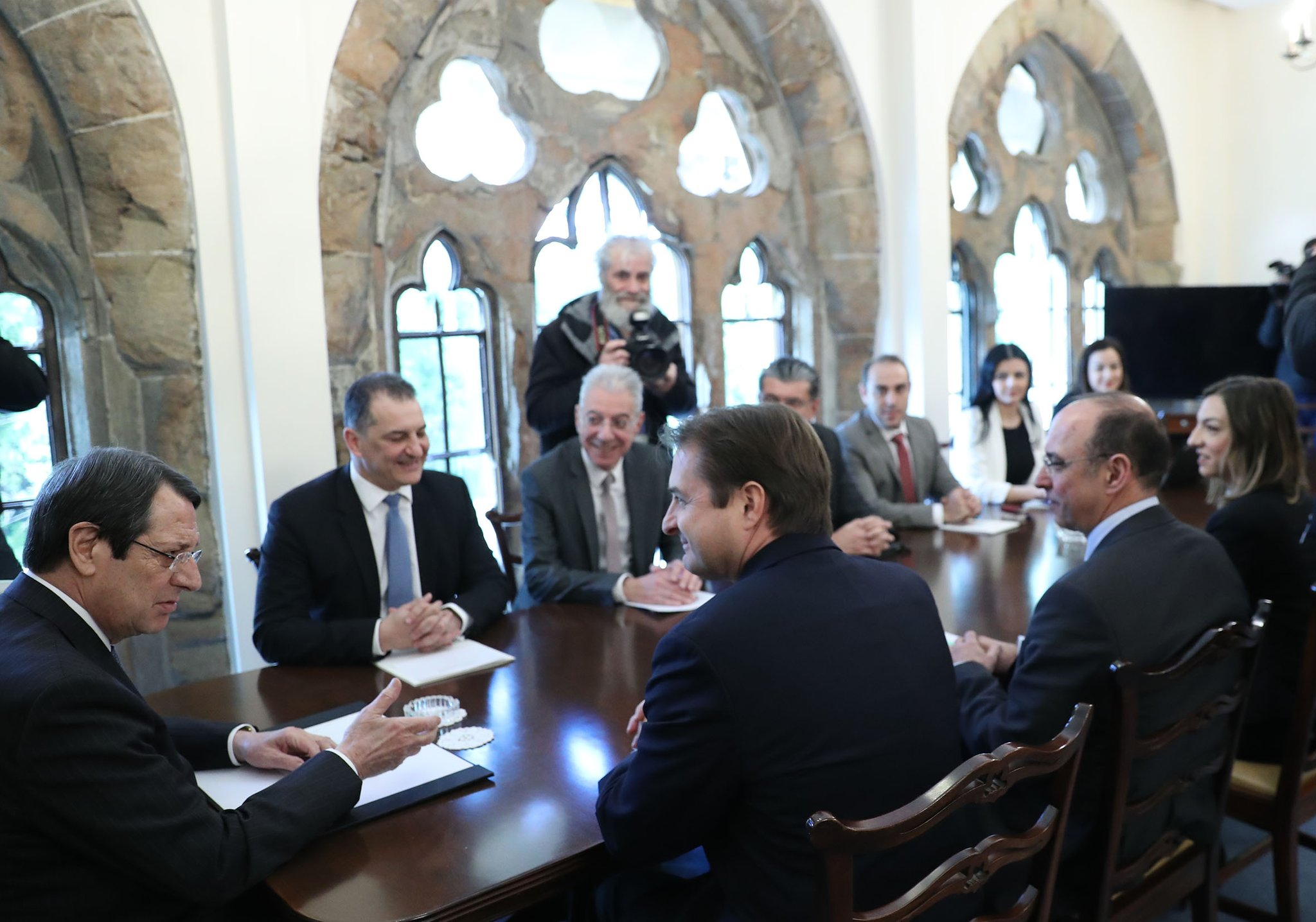 Cypriot president, Nicos Anastasiades, (far left) speaking to ExxonMobil's vice-president Tristan Aspray at the country's Presidential Palace
