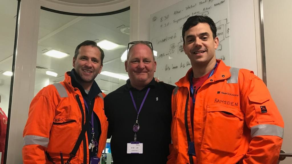 Graeme Law, centre, with two of his colleagues from the Mariner offshore oil platform