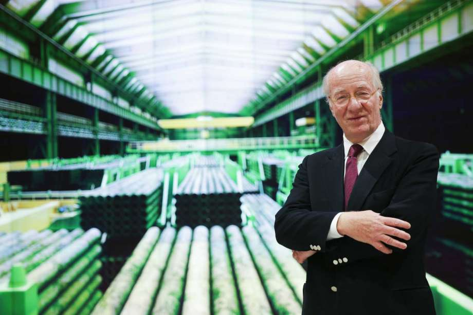 Tenaris CEO Paolo Rocca, in front of a steel pipe mill image, sees the U.S. as a crucial market.