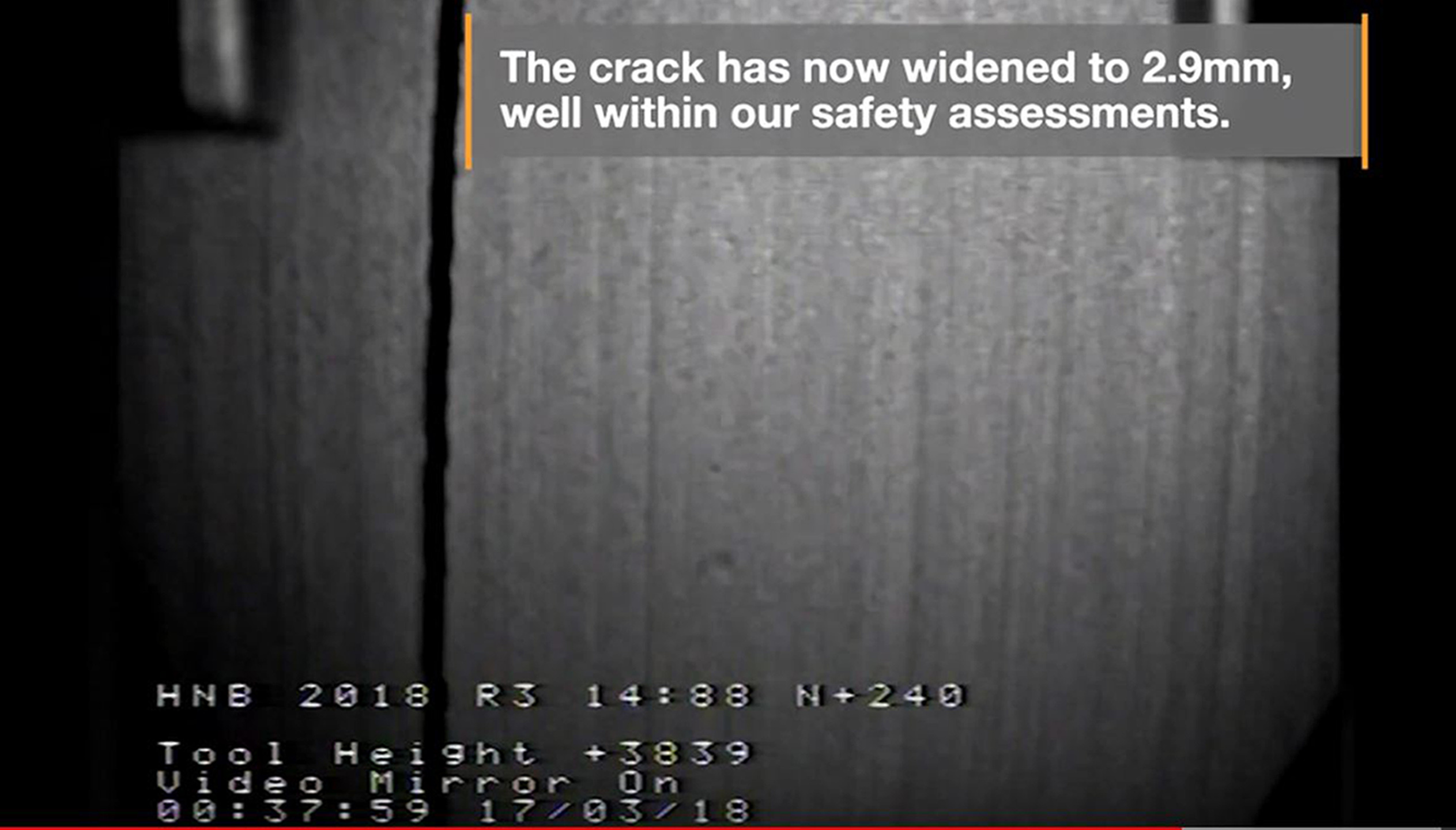 Undated handout still taken from video issued by EDF Energy of cracks in Hunterston B nuclear plant in Scotland. PRESS ASSOCIATION Photo. Issue date: Friday March 8, 2019. The unit in North Ayrshire has not been operating since the cracks were found to be growing faster than expected. See PA story ENVIRONMENT Hunterston. Photo credit should read: EDF Energy/PA Wire  NOTE TO EDITORS: This handout photo may only be used in for editorial reporting purposes for the contemporaneous illustration of events, things or the people in the image or facts mentioned in the caption. Reuse of the picture may require further permission from the copyright holder.