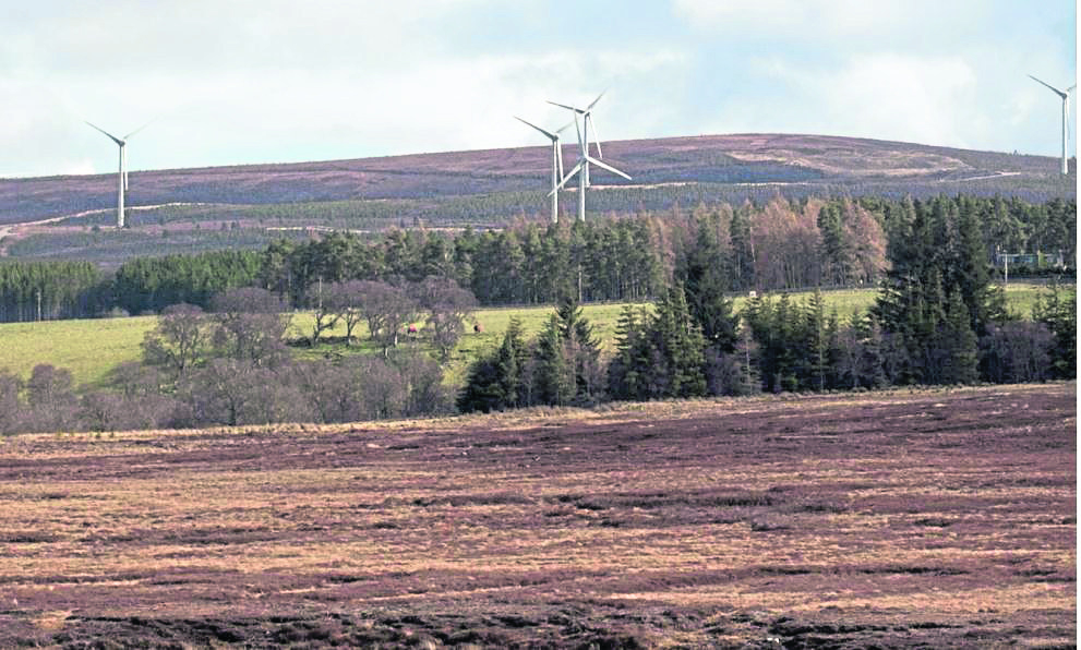 vision: An artist's impression of the controversial Clashgour wind farm which Force 9 Energy hopes to develop about seven miles south of Forres