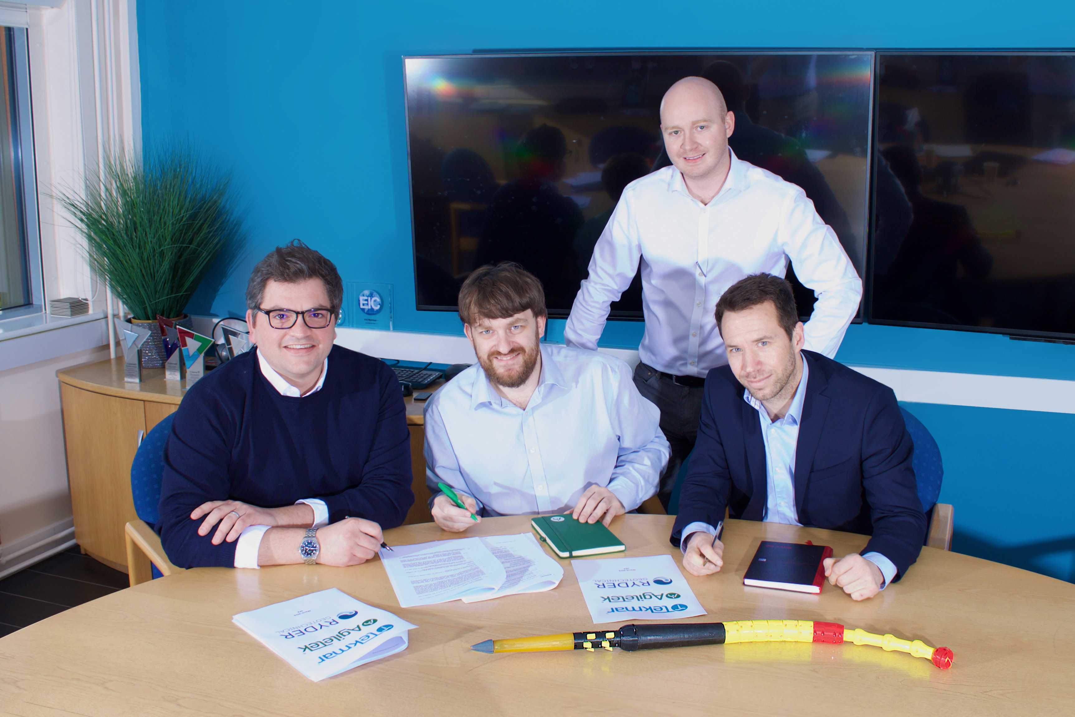 Good Deal: Pictured (L to R) are Ryder director Fraser Gibson, Agiletek managing director Steve Rossiter, Tekmar CEO James Ritchie, and Nigel Martin a fellow director at Ryder.