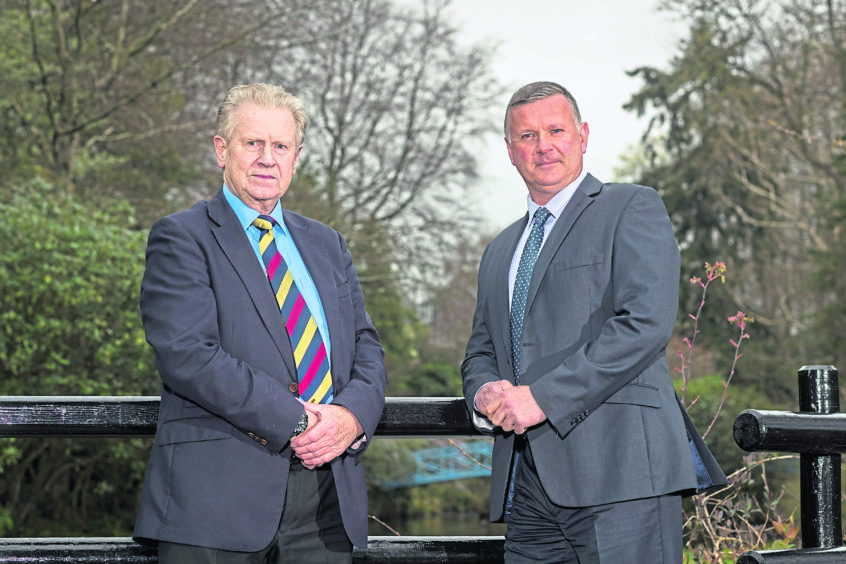 Professor David Alexander, left, has formalised his role with IED Training led by former Royal Marine Ian Clark, right