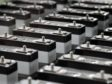 Lithium-ion battery cells are seen on the production line of the Eliiy Power Co. plant in Kawasaki City, Kanagawa Prefecture, Japan. Photographer: Tomohiro Ohsumi/Bloomberg