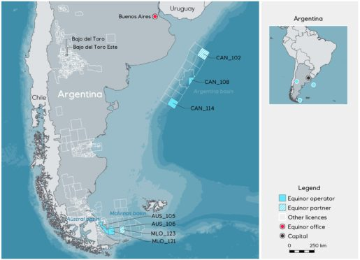 Map of the new licences in Argentina