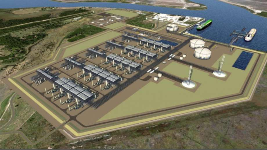 A rendering of the Driftwood LNG terminal proposed by Tellurian Inc. of Houston that big a massive boost to liquefied natural gas exports on the Gulf Coast.