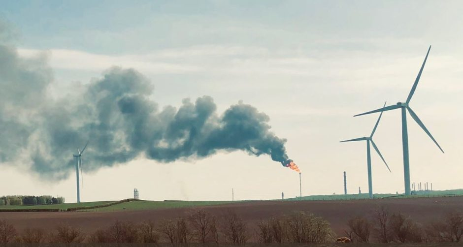 Wind turbines next to Mossmoran plant is part of the northern North Sea Brent oil and gas field system. Picture by NoiseMeUp.