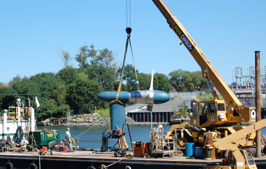 Verdant Power installation of a tidal turbine at the RITE Project East River NYC