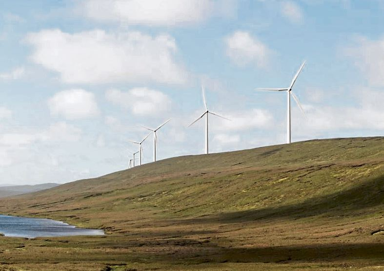 An artist's rendering of the proposed 103-turbine Viking Energy wind farm.