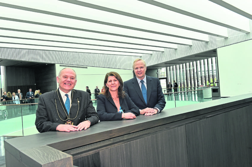 Aberdeen Art Gallery - BP announces £1m investment in the gallery. BP group Chief Executive Bob Dudley, Lord Provost Barney Crockett and Cllr Marie Boulton attended.  Picture by COLIN RENNIE  May 23, 2019.