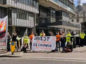People and Planet protesters outside Barclays annual meeting at the Queen Elizabeth II Centre in London. People and Planet/Twitter/PA Wire