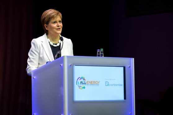 First Minister of Scotland Nicola Sturgeon giving the keynote address at the All Energy Conference.