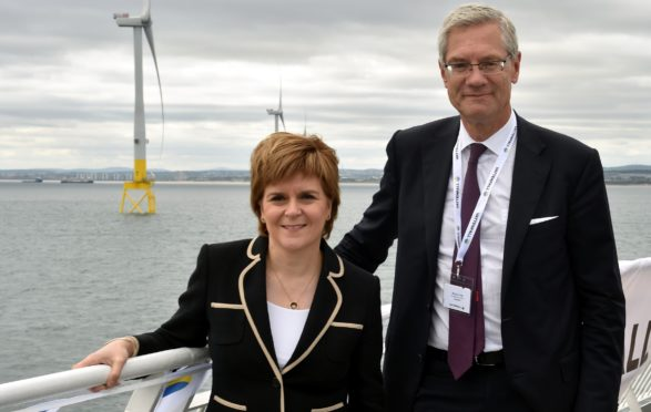 First Minister Nicola Sturgeon officially opened the Vattenfall's 93.2MW facility in Aberdeen. She is with President and Chief Executive officer at Vattenfall, Magnus Hall. Picture by COLIN RENNIE.