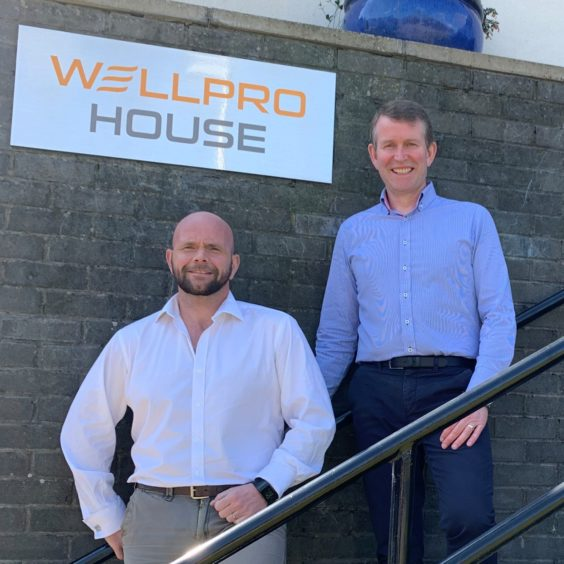 CEO Jim Thomson with Wellpro Group operations director Grant Forsyth (left)