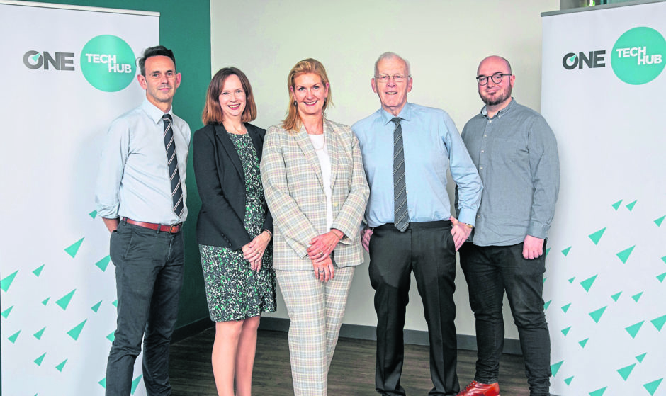 L to R: Michael Boniface, Head of ONE CodeBase, Maggie McGinlay, ONE Deputy CEO, Jennifer Craw, ONE CEO, Sir Ian Wood KT GBE, Chair of ONE, Stephen Coleman OBE, CEO and co-founder of CodeBase.