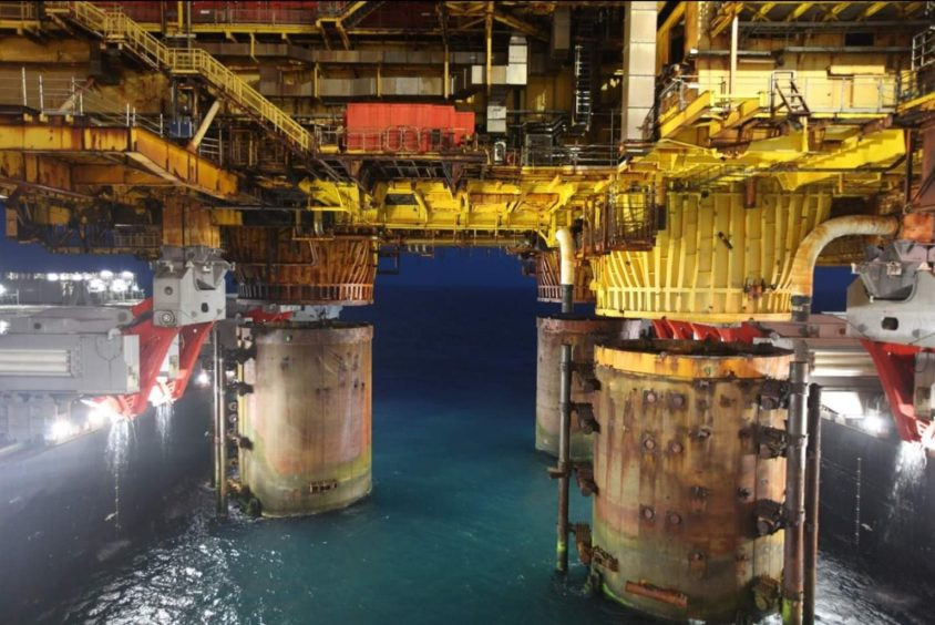 The topsides of the Brent Bravo were removed from the legs, which are proposed to stay in place, earlier this year.