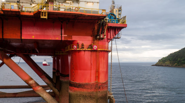 Greenpeace climbers on a Transocean oil rig in Cromarty Firth, Scotland. Image by Greenpeace