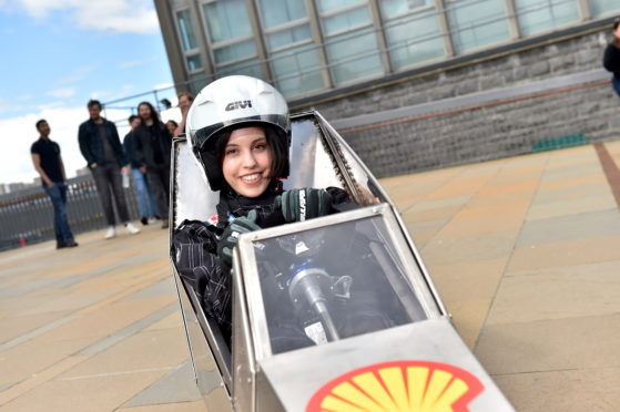 Students from Aberdeen University unveil a Hydrogen powered car, designed and built to compete in this years Shell Eco-marathon. Pictured is Driver Elisabettamaria Schettino.