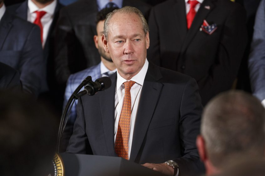 Jim Crane, owner of the Houston Astros, speak during an event honoring the 2017 World Series Champion Houston Astros at the White House in Washington, D.C., U.S. on Monday, March 12, 2018. Photographer: Joshua Roberts/Bloomberg