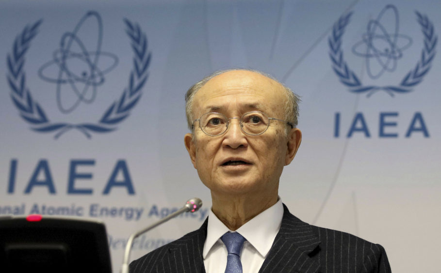 FILE - In this Nov. 22, 2018, file photo, International Atomic Energy Agency (IAEA) Director General Yukiya Amano of Japan. (AP Photo/Ronald Zak)