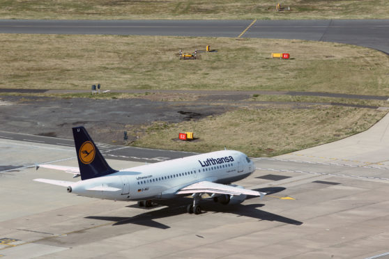 Lufthansa .Aircraft on the ramp at Edinburgh airport