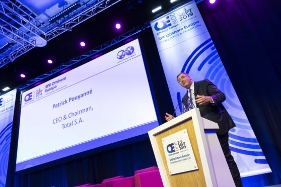 Patrick Pouyanne, CEO of Total, giving the keynote address on day one of Offshore Europe  (Photo by Ross Johnston/Newsline Media)